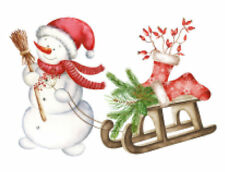 Watercolor Christmas Stocking Snowman Sled Vintage Waterslide Decals Chr276
