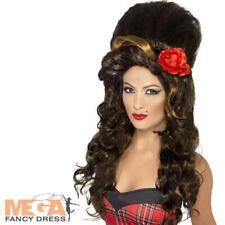 Celebrity Amy Winehouse Fancy Dress Beehive Ladies Costume Womens Pop Star Wig