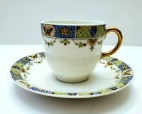 ANTIQUE LIMOGES FRANCE UNION CERAMIQUE FLORAL BORDER DEMITASSE CUP & SAUCER