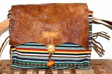 Recycled Handmade Multi-color Cotton w Leather Framed shoulder Bag