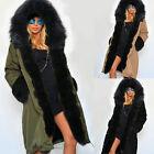 Giacca invernale Donna Parka SIMILPELLICCIA cappotto da mezza stagione cappuccio