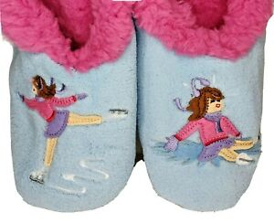 Snoozies Slippers Women's Size Medium 7-8 Splitz Design Applique Ice Skater