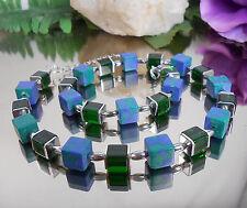 Würfel Collier Glas + Stein in grün + grün blau 10 + 8 mm Würfel
