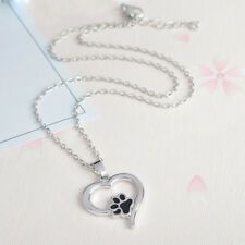 Puppy Dog Cat Paw Print Pendant Heart Silver Chain Pet Lover Necklace Jewelry