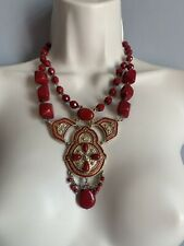 Statement Red Gold Tone Necklace Costume Jewellery Summer Holiday Ethnic