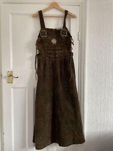 Landhaus Dirndl Pinafore Vintage Suede Dress Size 14 Peasant Boho Oktoberfest