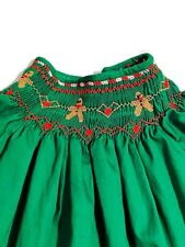 Vintage Green Girls Hand Embroidered Smocked Christmas Holiday Top Shirt Size 5
