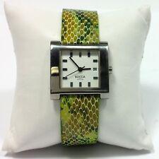 BOCCIA TITANIUM LADIES WATCH Genuine Leather Strap Green Snakeskin Pattern 41311