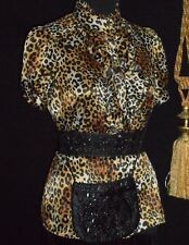 USA M Leopard Satin Blouse High Collar Dbl Ruffle Flounce s/s Black Beaded Purse