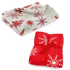 Twin Pack White Red Nordic Snowflake Design Fleece Blanket Throw Home Cover Xmas