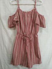 JENNA & JESSIE Girls Pink/White Cutout Shoulder Drawstring Shorts Romper size 8