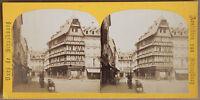 Estrasburgo Casa de Gutenberg Stereo Vintage Albúmina Aprox 1870