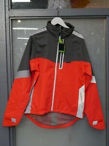Madison Protec men's waterproof cycling jacket, orange and grey, small