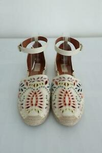 Valentino A Jour Espadrille Flats Ivory Embroidered Cutout Leather Size 40