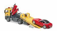 Bruder 03750 MAN TGS Abschleppwagen mit Schiebeplateau + Roadster