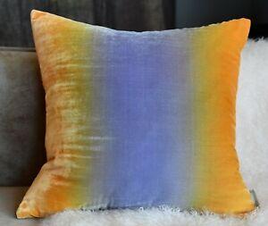 """Fabric17 Velvet Pillow Cover 22"""", Orange Violet Ombre Silk Velvet Throw Pillow"""