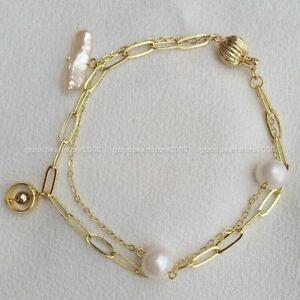 "Rare 7.5-8"" Baroque AAAA South Sea White Multi-color Pearl Bracelet 14k Gold P"