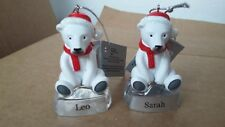 POLAR BEAR CHRISTMAS ORNAMENTS PERSONALISED GIRLS NAMES