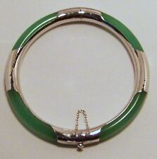 Brand new green Jade Banglewith Sterling silver 7 1/2 inches