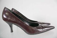 Prada Made In Italy Burgundy Leather Women's High Heel Pointed Toe Pumps Sz 38.5