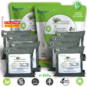 8 x 200g Natural Bamboo Air Purifier Deodorizer Bags 100% Activated Charcoal
