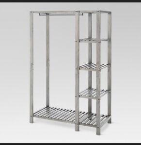 Wood Closet Organizer Gray Shelves Holding Rod Threshold