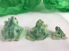 Bone China Vintage Taiwan Frog Family 3 Set Vintage 1960s Handmade / Painted