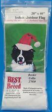 Border Collie Christmas Santa Hat Indoor Outdoor Flag Barbara Van Vliet