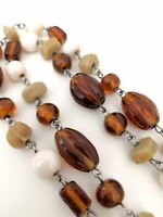 Vintage Czech Amber Cream Glass Bead Long Opera Flapper Art Deco Necklace