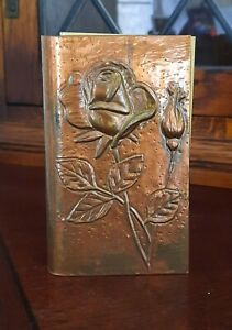 Large Handmade Vintage Copper Repousse Matchbox Cover Sleeve