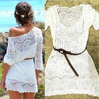 Hot Women Summer Lace Hollow Knit Bikini Swimwear Cover up Crochet Beach Dress
