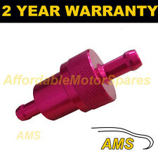 RED 6mm METAL UNIVERSAL IN LINE FUEL FILTER ANODISED ALUMINIUM