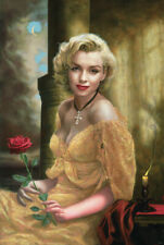 Marilyn Monroe with Rose Gothic Poster 24 x 36 Portrait Painting New