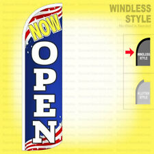 Now Open Windless Swooper Flag 3x115 Ft Feather Banner Sign Patriotic Bq