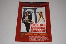 Texas Chainsaw Massacre Atari 2600 Video Game Instruction Manual Wizard #1