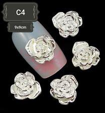 New DIY 3D Nail Art Decoration Silver Flowers Alloy Rhinestone Gems Stickes UK#1
