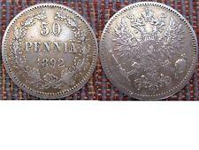 Silber Münze 50 Penniä Finnland Russland 1892 ERHALTUNG !!!! selten !!! Suomi