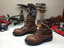 STEEL TOE RED WING MADE USA BROWN LEATHER LACE UP ENGINEER BOSS WORK BOOTS 6 D