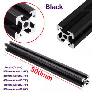 2020T-Slot Black Aluminum Profiles Extrusion Frame 300-500mm Length F 3D Printer