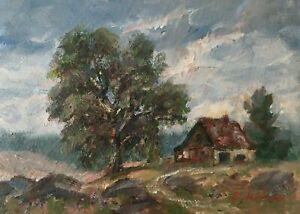 "Original Oil Painting Signed Australian Farm Outback Artist Enoch Hlisic 5 x 7"""