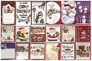 Christmas Card Granddad Grandma Grand-daughter Grandson Grandchildren Xmas Wishe