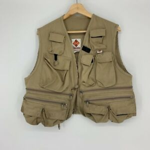 Columbia Fishing Vest Khaki Tan Outerwear Exterior Pockets Sporting Goods Zip L