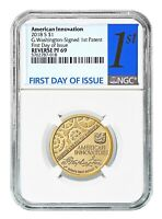 2018 S Innovation Reverse Proof Dollar 1st Patent NGC PF69 First Day Issue Label