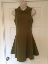 Topshop Olive A-Line Sleeveless Dress, Peter Pan Collar, Size 8