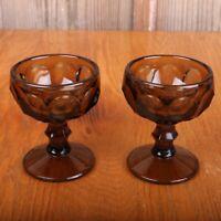 2 Brown Glass Thumbprint Pattern Sherbets Ice Cream Bowl Sundae