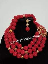 SALE: 3pcs. Hand Beaded-Necklace set. Nigerian/African Traditional  coral-neckla