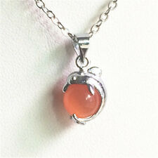 Womens Girls Beautiful red cat's-eye Stone Beads Silver chain Pendant Necklace