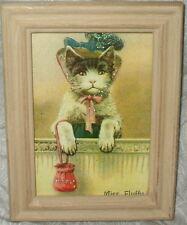 SHABBY WOOD FRAME CHIC MISS FLUFFY KITTEN CAT PRINT FRENCH COTTAGE DECOR  5x7