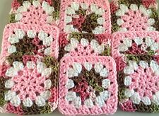 """20 4.5"""" PINK CAMO FLOWER Hand Crocheted GRANNY SQUARES Blocks AFGHAN THROW"""