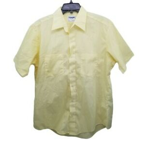 Wrangler 16.5 Yellow Shirt Button Down Made In USA Vintage Short Sleeves Red Cap